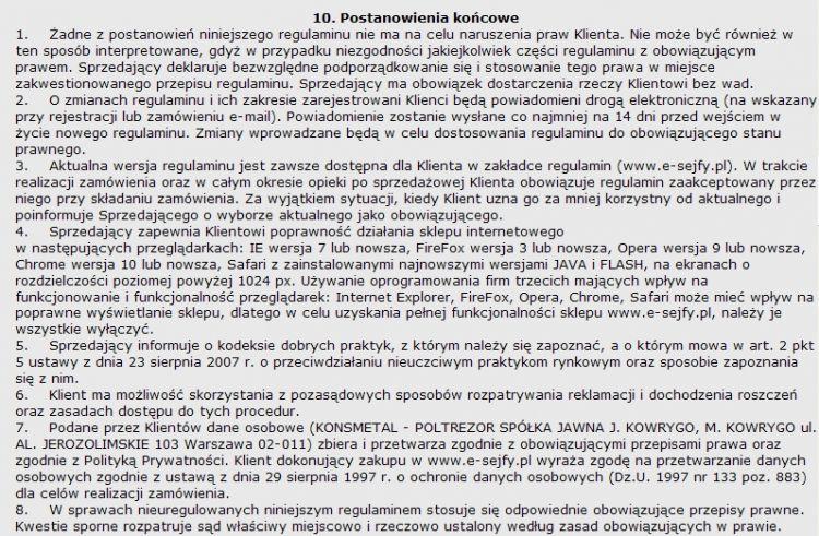 Regulamin 10 punkt 10
